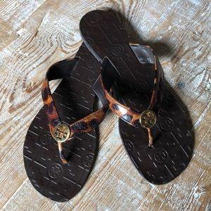 Tory Burch leopard print flip flops